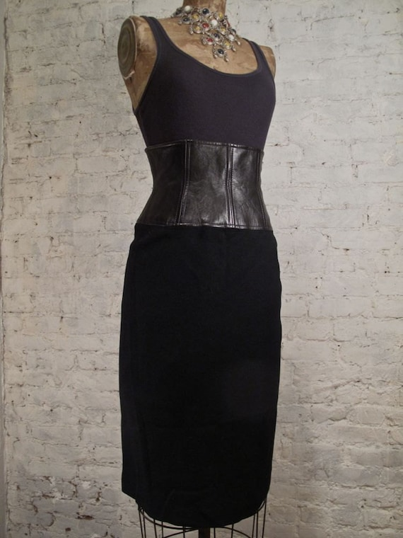 80s Anne Klein High-Waisted Wool and Leather Skirt