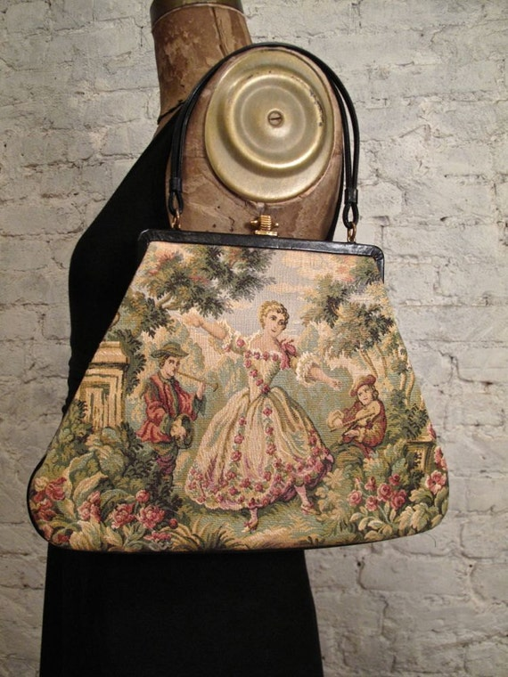 1950s Tapestry Bag with Romantic Scene - Leather Trim