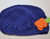 Crocheted Toddler Hat in Cobalt Blue with Orange Flower 10-24 mo