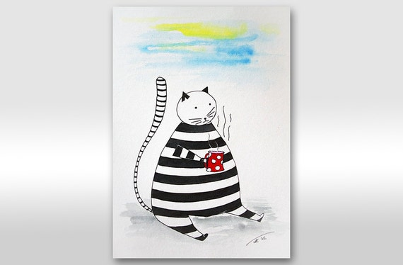 """SALE - FREE SHIPPING Original Ink Drawing - """"Coffee time"""" striped white and black cat painting A4 size painting 12 x 8"""