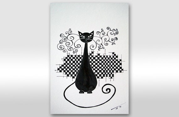 """FREE SHIPPING Original Ink Drawing Original Black And White Painting - """"Chess lady"""" black cat painting A4 size painting 12 x 8"""