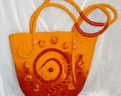 "OOAK felted Bag ""Motifs of Africa"",Red-orange bag,hand crafted, Summer fashion bag,Eco friendly bag, Gift for her"