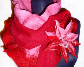 Stylish Three-tieredFelted Scarf Complete With Chiffon Scarf and Felted Brooch.Make order
