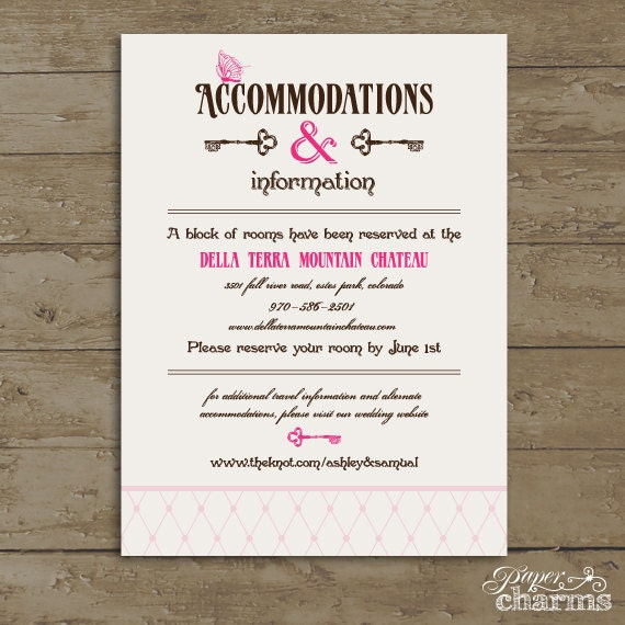 Items Similar To Wedding Accommodation Card Wonderland