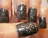 Rock Hard Nail Lacquer - Black Granite Glitter Custom Nail Polish - Full Size Bottle