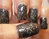 Rock Hard Nail Lacquer - Black Granite Glitter Custom Nail Polish - Full Size Jar With Clear and Brush