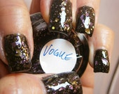 Vogue Nail Lacquer - Blackened Posie Lavender Leafy Glitter Custom Nail Polish - Full Size Jar With Clear and Brush