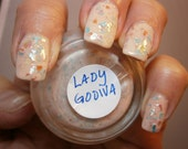 Lady Godiva Nail Lacquer - Nude Peach Whimsical Leafy Glitter Custom Nail Polish - Full Size Jar With Clear and Brush