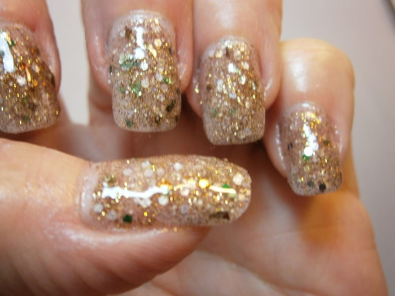 Turtle Soup Nail Lacquer - Golden Green Glitter Custom Nail Polish - Full Size Jar With Clear and Brush