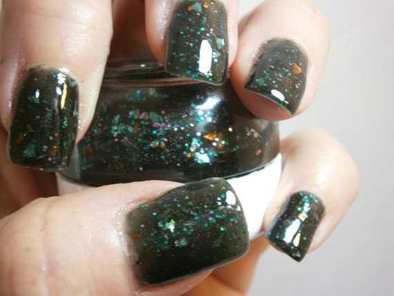 Poison Ivy Nail Lacquer - Whimsical Green Leafy Glitter Custom Nail Polish - Full Size Jar With Clear and Brush