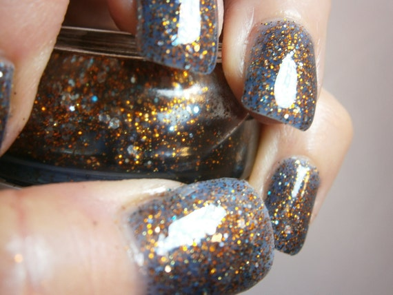 Liams Galaxy Nail Lacquer - Blue Luminous Glow in the Dark Glitter Custom Nail Polish - Full Size Jar With Clear and Brush