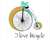 I love bicycle - digital image download - Images for tote bags t-shirts pillows, to print on fabric and paper