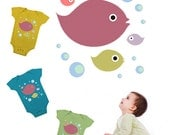 Fishes and bubbles- digital image download - Images for tote bags t-shirts pillows, to print on fabric and paper