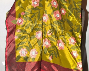 red and gold floral silk scarf