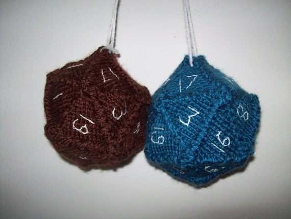 Blue/Brown 20-sided Fuzzy Dice