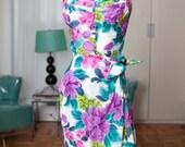 Kamehameha 1940s 1950s 1960s Hawaiian Sarong Dress Tropical Vibrant Colors S Mint Vintage