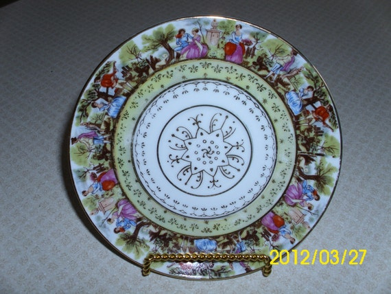 Vintage Arnart-Japan-Victorian Couples Multi-Colored Saucer