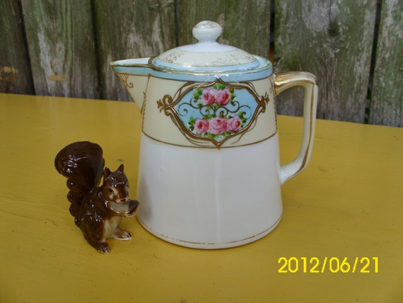 Antique Nippon Morimura Hand Painted With Moriage Cream/Syrup Pitcher & Lid
