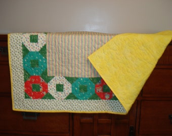 Quilt...Baby.....Crib.....Retro Style...Teething Rings...Baby Gift.....Shower Gift....Handmade