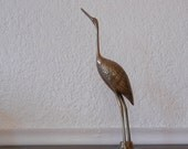 Vintage Brass Crane, Hollywood Regency Decor