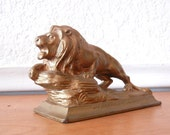 Art Deco Lion Paperweight, Lions Club Membership Award 1936