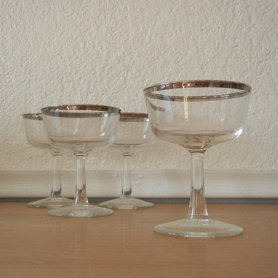 Mad Men Barware, Silver Rimmed Champagne Glasses, Set of 4