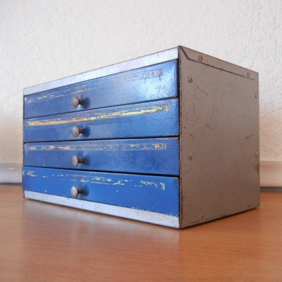 Industrial Metal Cabinet, Vintage IRC Resistor Cabinet,  4 Blue Metal Drawers