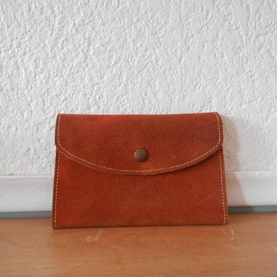 1970s Suede Wallet w Hand Stitched Trim
