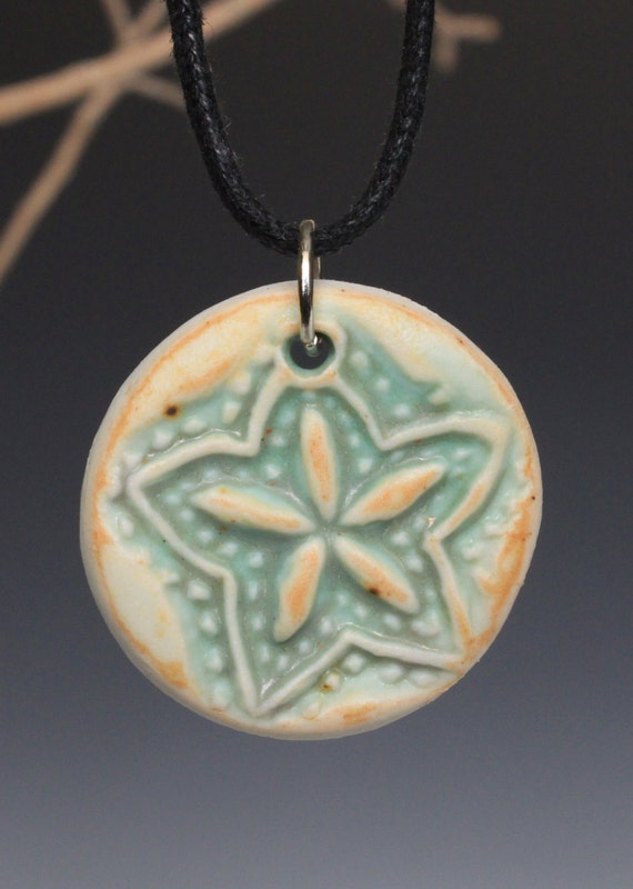 SALE Porcelain Ceramic Pendant Necklace with Stamped Design in Yellow and Green Glaze OOAK