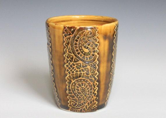 SALE Porcelain Ceramic Tumbler Wheel Thrown with Slip Trailed Design in Amber Celadon Glaze OOAK