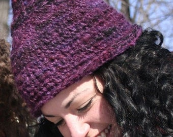 One of a Kind, Hand Spun, Hand Dyed, Purple Pixie Hat
