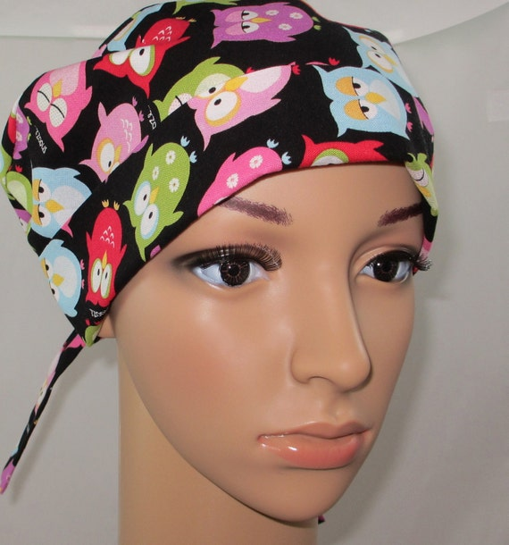 Sleepy Owl, Surgical Scrub Hat,OR Nurses Hat, Chemo Hat, Women's Surgical Scrub Hat,Vet, Biker