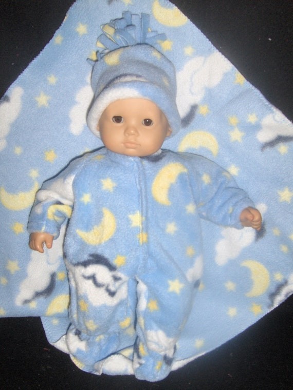 Blue Fleece Stars and Moon Sleeper, Blanket and Hat Doll Clothes Made To Fit Bitty Baby and Other 15 inch Dolls