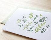 letterpress greeting card - lovely little plants