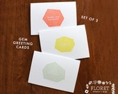 letterpress gem greeting cards - set of 3