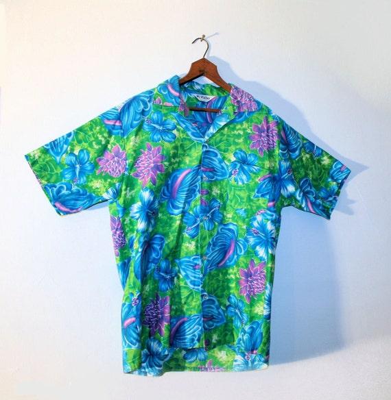 60s Mr Kailua Shirt Sexy Flowers Mens Rayon Tropical Hawaiian Aloha L