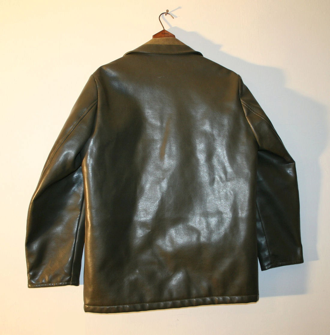 Green Jacket With Leather Sleeves