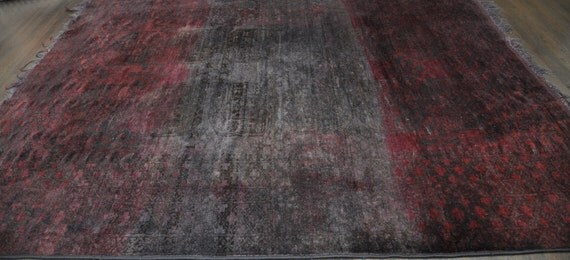 Vintage Overdyed Carpet - Distressed Red and Charcoal
