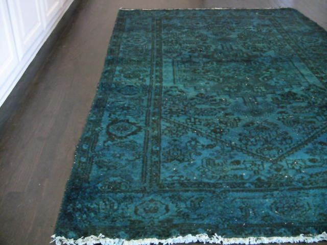 Vintage Persian Overdyed Rug Turquoise