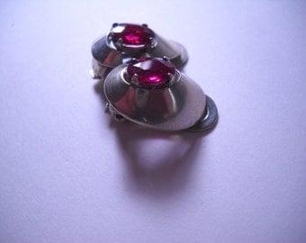 Marcel Boucher Parisina Sterling Silver Ruby Glass Very Wearible Taxco Clip Earrings
