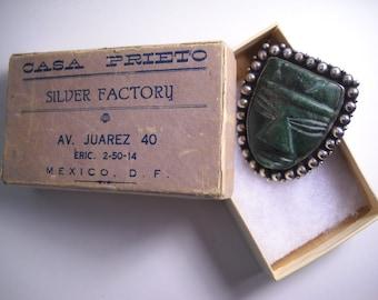 Taxco Silver Mexican Jade Azteca Casa Prieto Signed Pin Brooch 30s with Casa Prieto Box