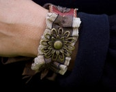Leather Bracelet, Brown with Ribbon & Embellishment