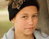 Black Headband, Soft Knit, Brown Fabric Ribbon, Rhinestones