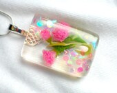 Beautiful Hand created Pendant with Pink miniature Flowers, Bridal, Mother