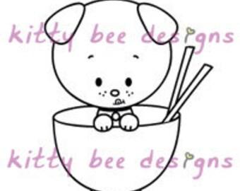 Rice Bowl Pup Digi Stamp