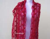 Red Crochet Shawl-Bridal,Wedding,Spring and Summer Evening