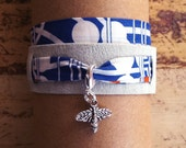 SUEDE BLUE / suede and fabric wrap bracelet with charm of your choice