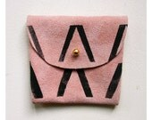 COIN PURSE // pink suede with black Vs