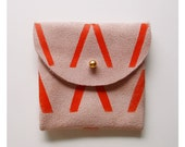 COIN PURSE // pink suede with orange Vs