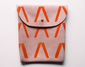 POUCH // pink suede with orange V print